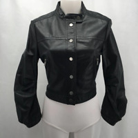 BCBG Black Leather Jacket Small