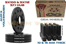 4pc 10 & 15mm Staggered Kit W/ 20 Black Bolts 14x1.5 Fits Audi Volkswagen Jetta