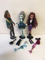 Lot of 3 Monster High Sweet 1600 doll Clawd Frankie Stein Clawdeen Wolf
