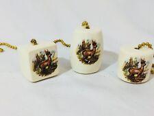 Vtg Lot/3 Assorted Handmade Deer Lodge Cabin Ceiling Fan Light Pull Porcelain