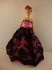 Hot Pink and Black Gown with Gold Details on the Bodice Made to Fit Barbie Doll