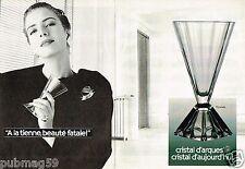 Publicité advertising 1988 (2 pages) Cristal d'Arques verre modèle Pyarmide