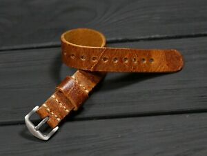 Leather Watch Strap Single Pass Distressed English thick soft Band 18 20 22 24mm