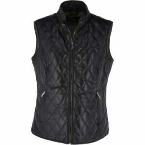 BNWT Ladies Womens Diamond Quilted 100% Leather Gilet - Black - SIZE XXL
