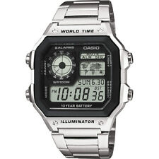 CASIO MEN's WATCH AE-1200WHD-1AVEF WORLD TIME ALARM CHRONOGRAPH Stainless Band