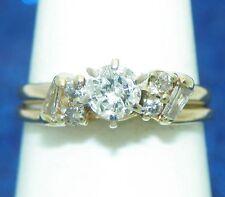 1/2ctw DIAMOND BRIDAL WEDDING RING SET SOLID 14K GOLD 3.5g SIZE 7