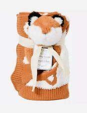 Fox Baby Blanket & Rattle Set Little Miracles Knit Very Soft Great Shower Gift