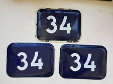 Genuine BIG vintage ISRAELI enamel porcelain no. 34  house sign # 34 pick 1