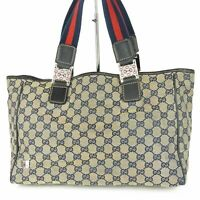 Auth GUCCI Web Horse Bit GG Canvas Leather Tote Hand Bag Italy 11788bkac