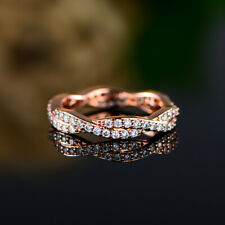 Sevil 18k Rose Gold Plated Twisted Eternity Band Ring With Swarovski Elements