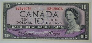 1954 BANK OF CANADA $10 DOLLAR I/D 2429076 DEVILS FACE BC-32b BEATTIE COYNE NOTE