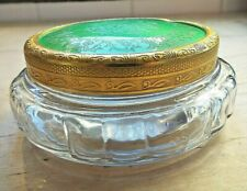 CONDOR Glass Powder Bowl  Detailed Ormolu Lid with Green Engine Turned Pattern