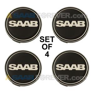 SAAB NEW 9-3 9-5 BLACK NEVS WHEEL CENTER CAPS SET OF 4 CAPS OEM 62.5mm 2100004