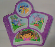 """Plate Dora and Friends  5 Section Kids Monkey Fox Cow Squirrel 8"""" by 9"""" Purple"""