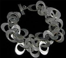 Brushed Textured Silver Plated Copper Oval Cha Cha Link Chain Bracelet 6 1/2- 8""