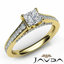Pave Set Princess Diamond Engagement Ring GIA D Color VS2 18k Yellow Gold 1.25Ct