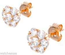 Cz Stone Round Stud Earrings Gm-145 Ladies 18k Sterling Silver Rose Gold Finish
