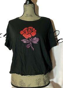 New! Victoria Secret Pink Gem Bling XL Crop Top Shirt Rose Floral Black