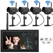 Wireless Security Camera System 4CH IR Night Vision Outdoor DVR CCTV 2.4GHz USA