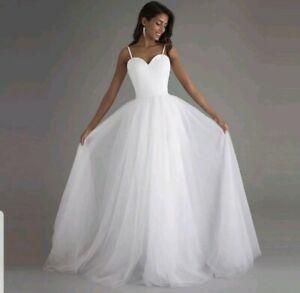 UK Spaghetti Strap White/Ivory A Line Sweetheart Beach Wedding Dresses Size 6-20