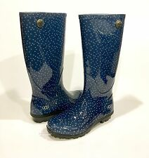 UGG AUSTRALIA SHAYE DOTS TALL RAINBOOTS BLUE WOMEN'S US SIZE 5 -NIB