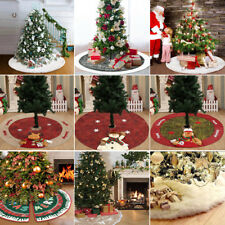 US Long Plush White Snow flake Christmas Tree Skirt Base Floor Mat Cover Decor