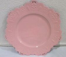 Pink Eyelet Scalloped Edge Chargers Plates Set of 6 Shabby Chic Cottage