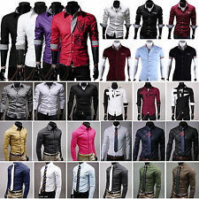 Luxury Mens Slim Fit Business Formal Dress Shirts Casual Button T-Shirt Top Tee