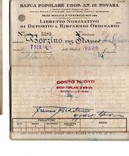 LIBRETTO DI DEPOSITO A RISPARMIO BANCA POPOLARE COOP ANONIMA NOVARA 1944 doc4