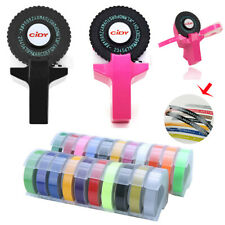 Manual Embossing Label Maker Letter Typewriter + 4 Rolls Printer Refill Tapes