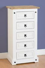 Seconique CORONA White & Distressed Waxed Pine 5 Drawer Narrow Chest