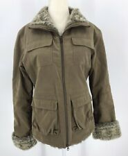 Fjall Faux Fur Lined Canvas Coat Small Sand Light Brown Cuffs USA Warm Pockets
