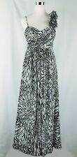 Betsy & Adam Long One Shoulder White Black Floral Ball Gown. Size 6P Gorgeous!