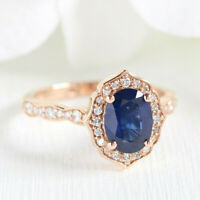 Solid 10K Rose Gold 2.00Ct Oval Cut Blue Sapphire & Diamond Halo Engagement Ring