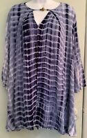 Tie Dye Tunic Top Bell Sleeves Blues White Embellished Neck Size L Boho Artsy