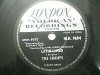 "THE CHAMPS HlH 9604 INDIA latin limbo dance RARE 78 RPM RECORD 10"" ex"