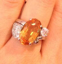 GIA certified 6.78 ct Yellow-Orange Topaz and Diamond Ring in Platinum -HM1380AS
