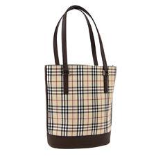 BURBERRY Check Shoulder Tote Bag Beige Brown Canvas Leather Vintage F03159