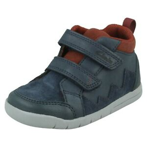 Boys Clarks 'Rex Park T' Leather Casual Hook & Loop Strap Ankle Boots G & H Fit