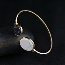 Fashion Women Gold Punk Marble Open Cuff Bracelet Bangle Chain Wristband Jewelry