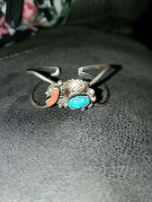 Navajo Cuff Bracelet Signed Ds Old Pawn Sterling Silver Beautiful Turquoise/cora