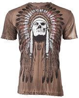 AFFLICTION Men T-Shirt TRIBE Indian Skull Tattoo Fight Biker MMA UFC S-4XL $48 b