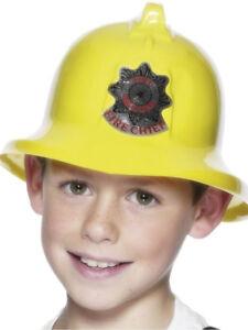 Yellow Fire Man Hat Kids Plastic Firemans Fancy Dress Costume Accessory