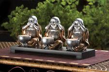 HEAR NO EVIL happy fat 3 BUDDHA Statue Candle Holder incense burner offer bowl