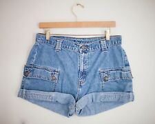 Vintage LEVI'S Medium Wash High Waisted Rise Cut Offs Cuffed Denim Shorts 31/32