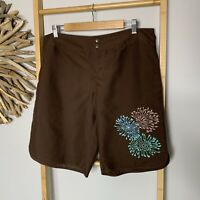 Target Size 14  L Brown Floral Boardshorts Swimwear Togs Shorts Women's Beach