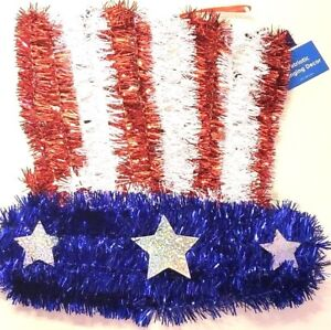 Patriotic Hanging Decor Star or Hat US Flag Patterns Garland Durable Plastic New