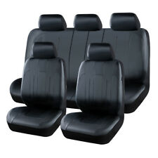 Universal Car Seat Covers Black Leather Fit For Sedan Kia Skoda Subaru Chevrolet