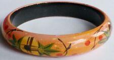 bracelet bijou vintage rigide en bois peint vernis déco fleur rosé * C1