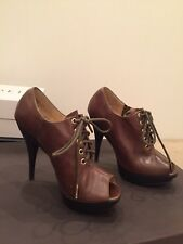 Michael Kors Leather Open Toe Khaki high Heel Shoe Ankle Boots
